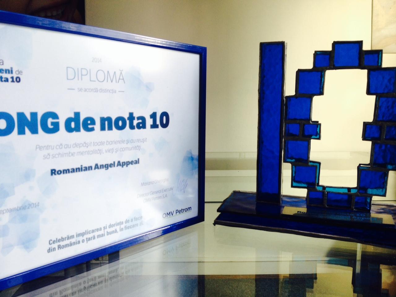 "Romanian Angel Appeal a primit distinctia ""ONG de nota 10"""